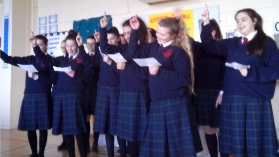 Students performing their theme song at CSW 2015